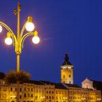 Der beleuchtete Marktplatz von Budweis