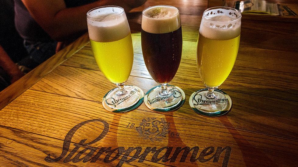 Drei Biergläser gefüllt mit Staropramen