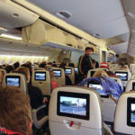 Innenansicht der Boeing 777-200 der Austrian auf dem Flughafen Wien-Schwechat