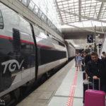 Hochgeschwindigkeitszug TGV im Bahnhof des Flughafens Paris-Charles de Gaulle