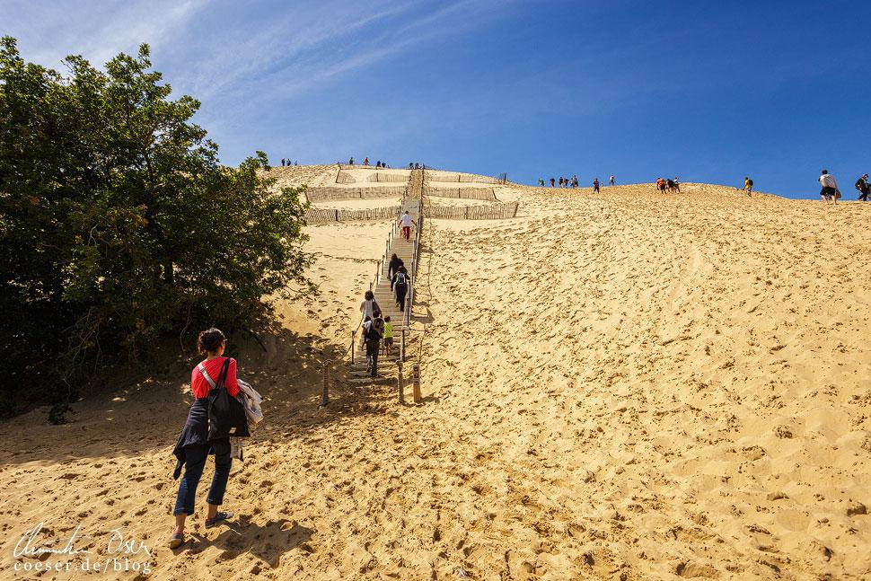 Am Fuß der Wanderdüne Dune du Pilat, Aufstieg über die Treppe oder rechts davon ohne Hilfsmittel