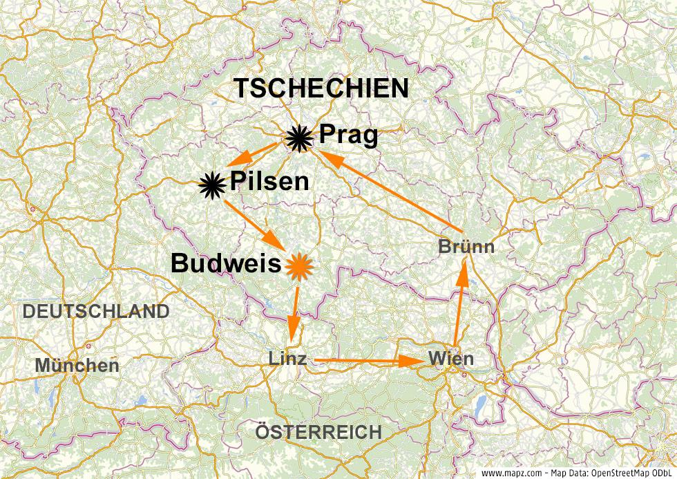 Karte zeigt Budweis in Tschechien