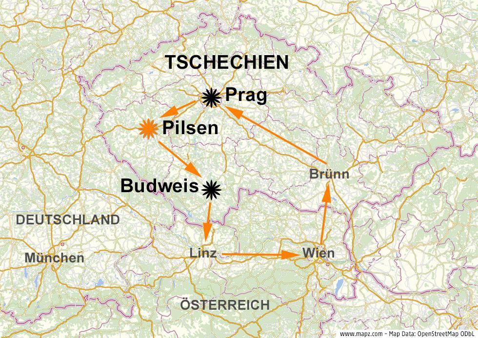 Karte zeigt Pilsen in Tschechien