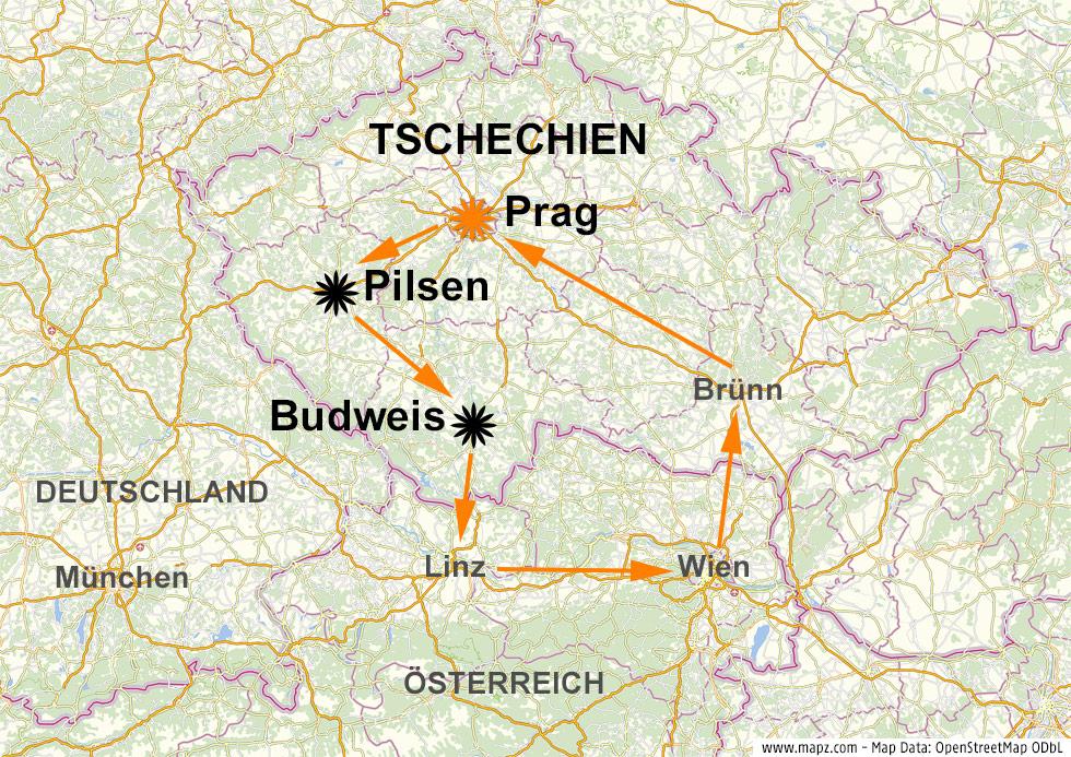 Karte zeigt Prag in Tschechien