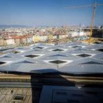 Blick auf den Hauptbahnhof von der Skylobby der ÖBB Unternehmenszentrale in Wien