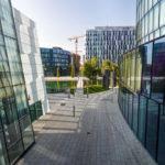 Blick auf andere Gebäude des Viertel Zwei aus dem OMV Headoffice in Wien