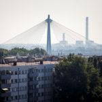 Donaustadtbrücke, gesehen von der Dachterrasse des Nebengebäudes des OMV Headoffice in Wien