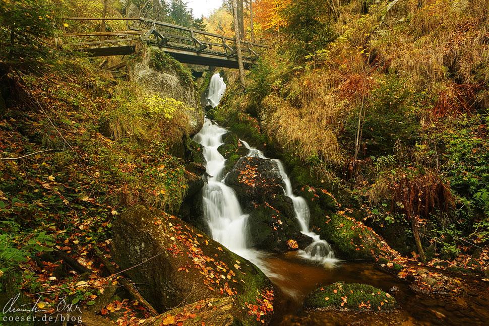 Ein etwas größerer Wasserfall unter einer Brücke bildet das Ende der Ysperklamm