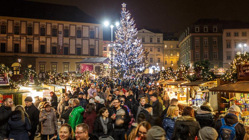 Weihnachtsmarkt auf dem Krautmarkt (Zelný trh) in Brünn
