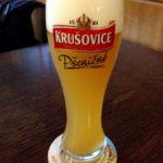 Weizenbier Krušovice Pšeničné in der Gaststätte der Brauerei Starobrno (Pivovar Starobrno)