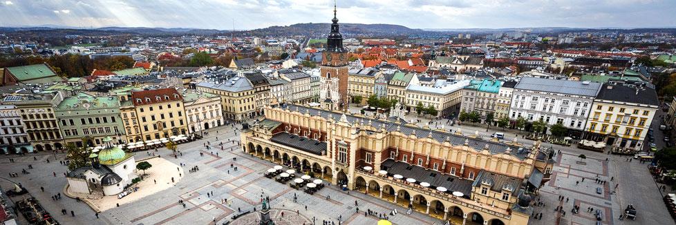 Der Hauptmarkt in Krakau vom Turm der Marienkirche aus gesehen