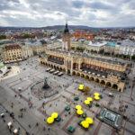 Panoramablick auf den Hauptmarkt vom Nordturm der Marienkirche aus gesehen