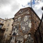 Sehenswert bemalte Hausfassade an einem alten jüdischen Haus im Stadtteil Kazimierz