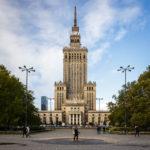 Außenansicht des Kultur- und Wissenschaftspalasts in Warschau
