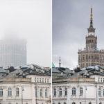 Der Kultur- und Wissenschaftspalast in Warschau im Nebel und mit freier Sicht