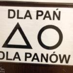 Polnische Toilettensymbole: Ein Kreis symbolisiert das WC für Damen, ein Dreieck das für Herren