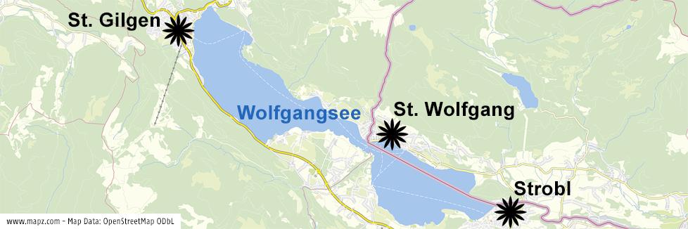 Karte zeigt die Ortschaften St. Wolfgang, Strobl und St. Gilgen