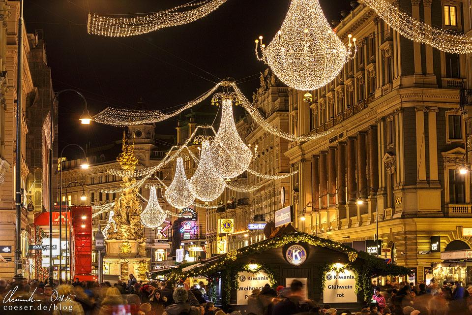 Weihnachtsbeleuchtung auf dem Wiener Graben
