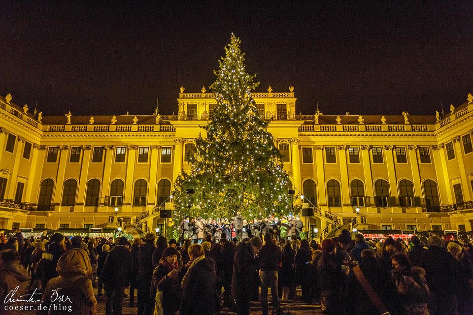 Vor dem Christbaum gibt ein Chor Weihnachtslieder zum Besten