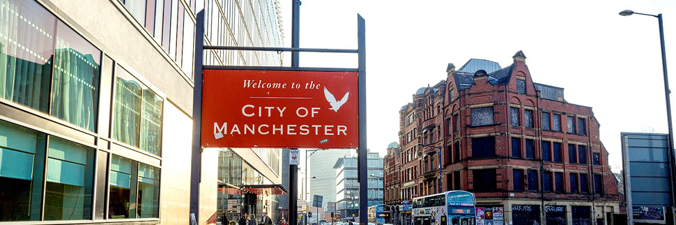 Willkommensschild in Manchester