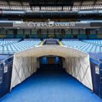 Der Spielertunnel vom Spielfeld aus gesehen im Etihad Stadium