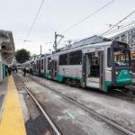 Die Green Line der Bostoner Straßenbahn in der Station Lechmere
