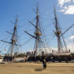 Die Fregatte USS Constitution, das älteste noch schwimmende Kriegsschiff der Welt