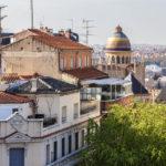 Aussicht von der Terrasse meines Doppelzimmers im Hotel Mercure Madrid Plaza de Espana
