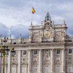 Detailaufnahme der Südseite des Königlichen Palastes (Palacio Real) in Madrid