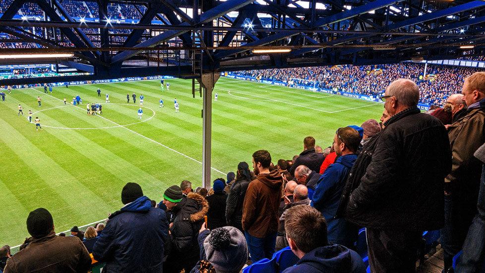 Zuschauer im Goodison Park Stadium von Everton, Liverpool