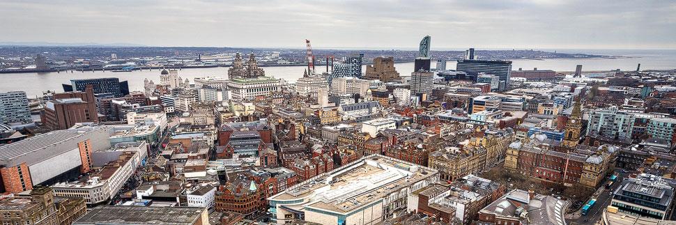 Ausblick auf die Innenstadt von Liverpool