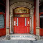 Eingang ins viktorianische Wohnhaus Imperial Chambers in der Dale Street