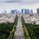 Blick vom Riesenrad auf dem Place de la Concorde in Richtung Champs-Elysées, Triumphbogen und La Defénse