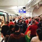 Fans in der Pariser Métro auf dem Weg zum Euro-2016-Spiel Portugal – Österreich