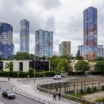 Wohnbauten im Vorort Nanterre hinter dem Hochhausviertel La Défense