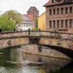 Blick auf die Fleischbrücke in Nürnberg