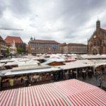 Blick auf den Hauptmarkt mit der Frauenkirche und den Ständen des Ostermarkts