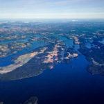 Der Stockholmer Schärengarten vom Flugzeug aus gesehen