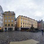 Panorama des berühmten Platz Stortorget in der Stockholmer Altstadt Gamla Stan