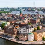 Blick vom Turm des Stockholmer Rathauses auf die Altstadt Gamla Stan