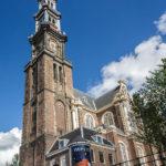 Außenansicht des Turms Westertoren in der Kirche Westerkerk