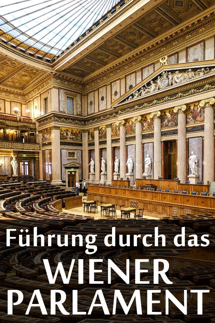 Führung durch das Wiener Parlament in Österreich mit geschichtlichem Hintergrund und den besten Fotos aus dem Inneren des Gebäudes.