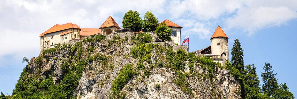 Blick auf die Burg Bled