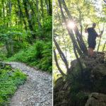 Bild links: Der anfängliche Weg nach oben. Bild rechts: das kurze, aber sehr steile Stück zum Aussichtspunkt Ojstrica