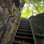 Extrem steile Leiter auf dem Wanderweg zum Aussichtspunkt Mala Osojnica
