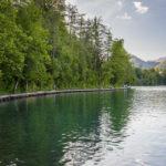 Am Westufer führt ein kurzes Stück des Rundweges um den Bleder See über einen Steg am Wasser