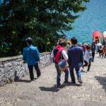 Die 99 Stufen zur Anlegestelle auf der kleinen Insel im Bleder See