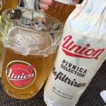 Eine Bierflasche Union im Restaurant Vila Prešeren Bled