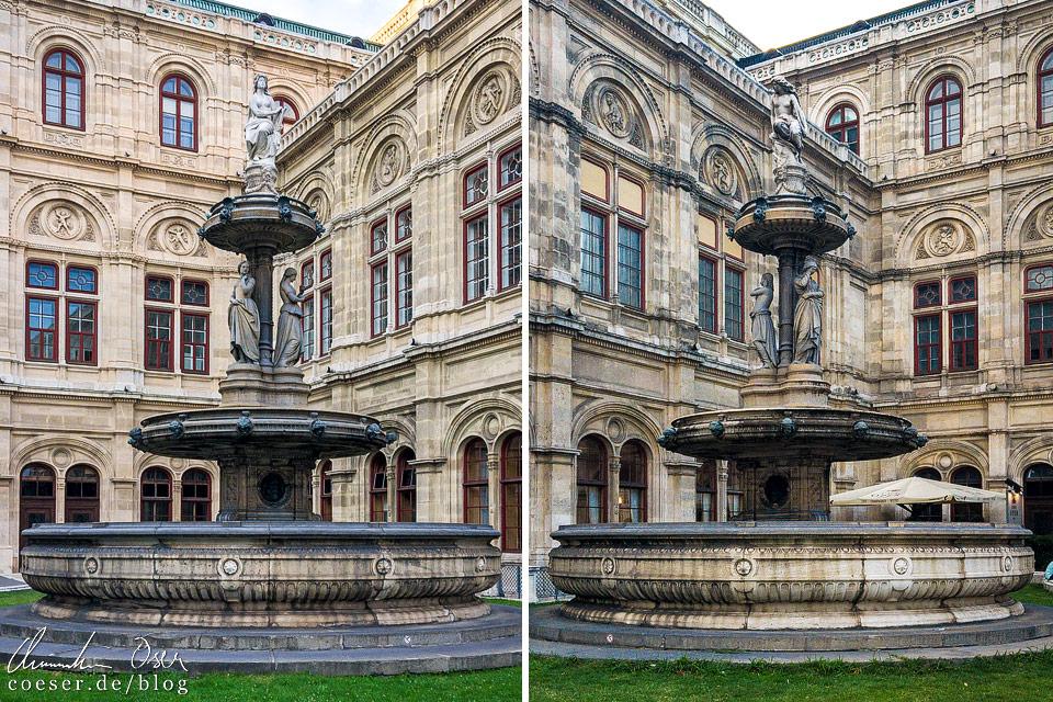 Die beiden Brunnen vor der Wiener Staatsoper