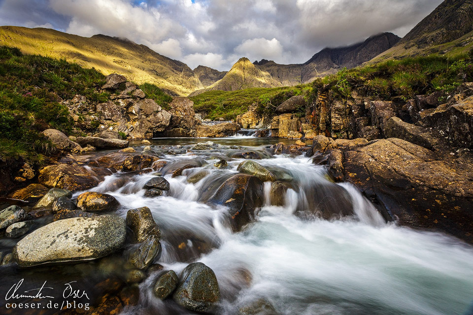 Fairy Pools im Abendlicht in Schottland